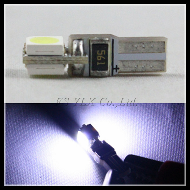 Free Shipping T5 2SMD canbus 5050 White LED lamp T5 2SMD light  T5 5050 2SMD Led bulb 100pcs/lot<br><br>Aliexpress