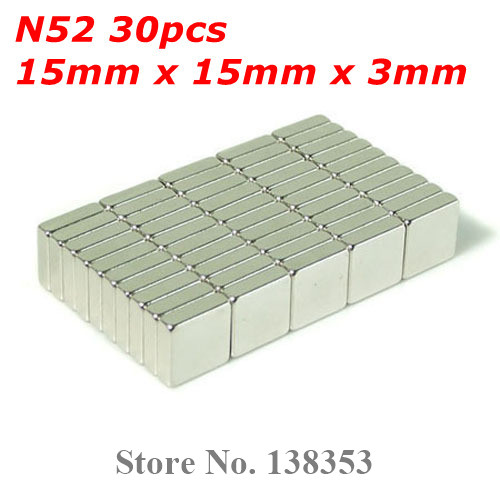 Гаджет  Wholesale 30pcs Super Strong N50 N52 Neodymium Square Block Magnets 15mm x 15mm x 3mm Rare Earth NdFeB Cuboid Magnet None Строительство и Недвижимость