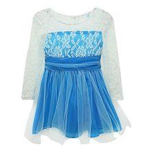 Girls Princess Lace Fancy Dress Long Sleeve Baby Crochet Floral Tulle Dresses