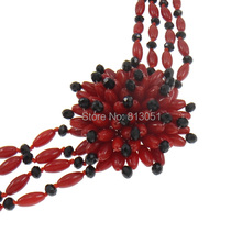 Free shipping!!!Natural Coral Necklace,Kawaii,, with Crystal, brass slide clasp, Flower, 4-strand, red, 45x13mm
