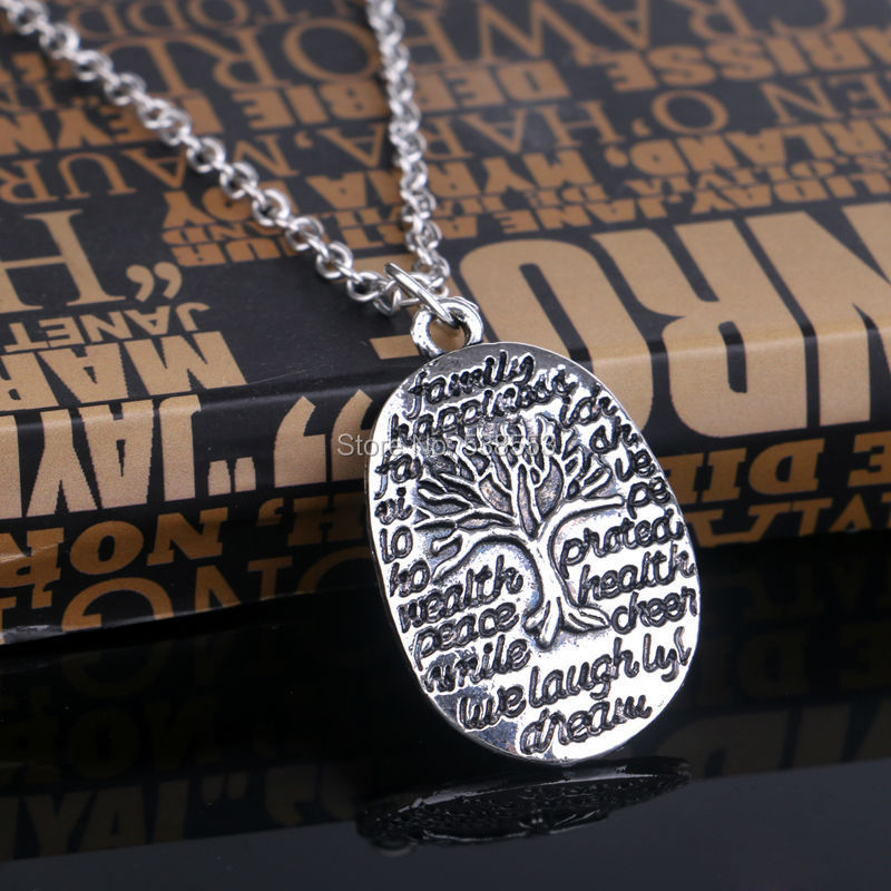 Fashion 2015 Square Shape Family Life Tree Pendant Stainless Steel Necklace Chains Necklaces For Women Men Jewelry(China (Mainland))