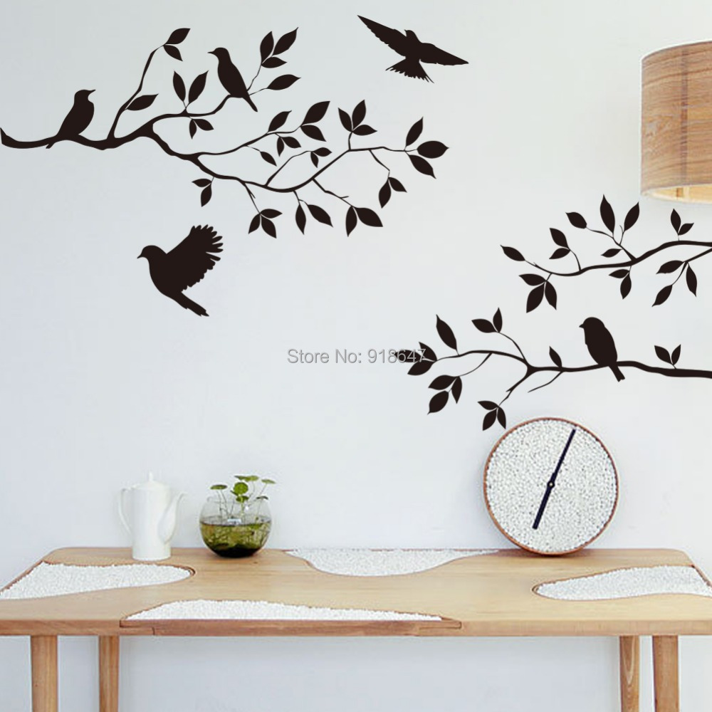 Buy sia new wall decal black birds tree large room decor hom - Stickers et decoration ...