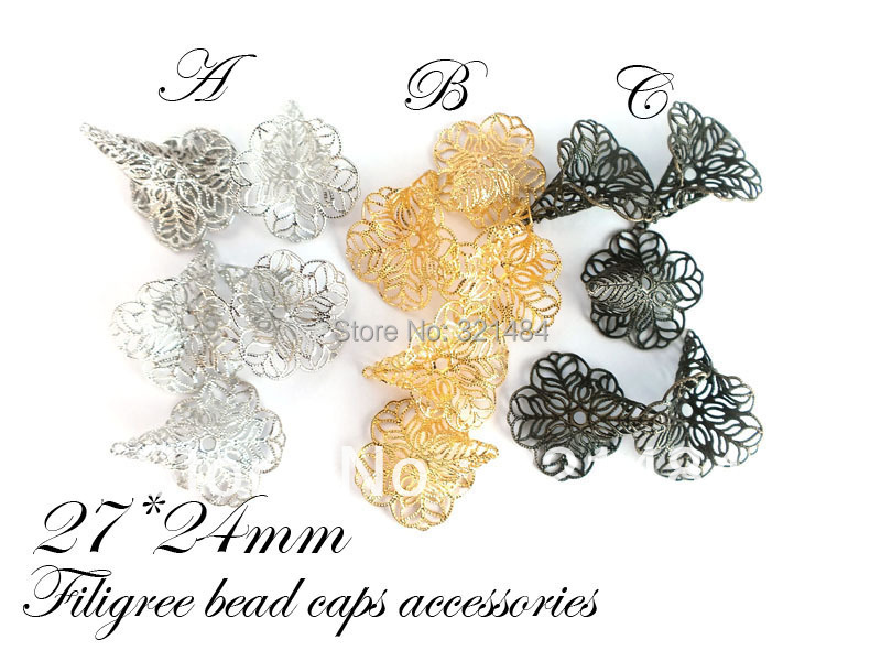 27*24mm Gold/Dull Silver Plated/Antique bronze 300pcs/lot filigree flower bead caps jewelry findings