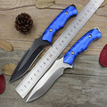 Outdoor Survival Camping Knife Leggings Blue Fixed Blade Knife Diving Straight 55HRC Stainless Steel Tactical Black