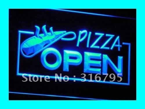 i026-b OPEN Pizza Restaurant Displays LED Neon Light Signs On/Off Switch 7 Colors