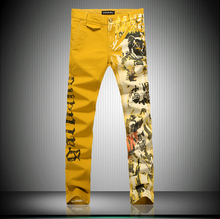 Watch slim jeans men yellow pattern print denim jeans factory 2015 man spring cool trousers summer thin please jeans italy(China (Mainland))