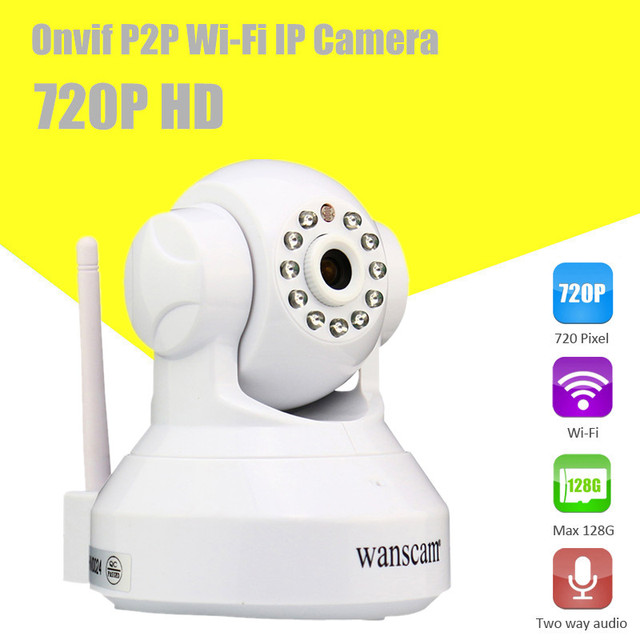 Wireless IP Camera HD Two-way Audio  IR Cut WANSCAM Wi-Fi Megapixel Pan/Tilt H.264 CCTV Network IP Camera With TF Card Slot