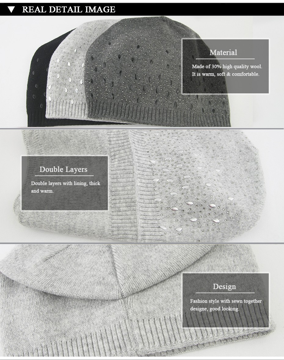 IMISSU Winter Beanies Hat Women Knitted Wool Skullies Casual Cap with Solid Colors Fashion Thick Warm Ski Gorros Hats for Girls