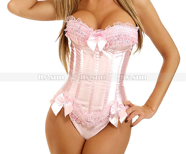 Pink Overbust Corset with Padded Cup Lace up Bustier Bridal Sexy Lingerie S M L XL 2XL(China (Mainland))