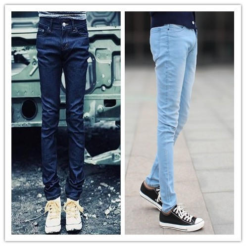 Free Shipping new 2014 male jeans slim skinny jeans pants men sky blue jeans A variety of models(China (Mainland))
