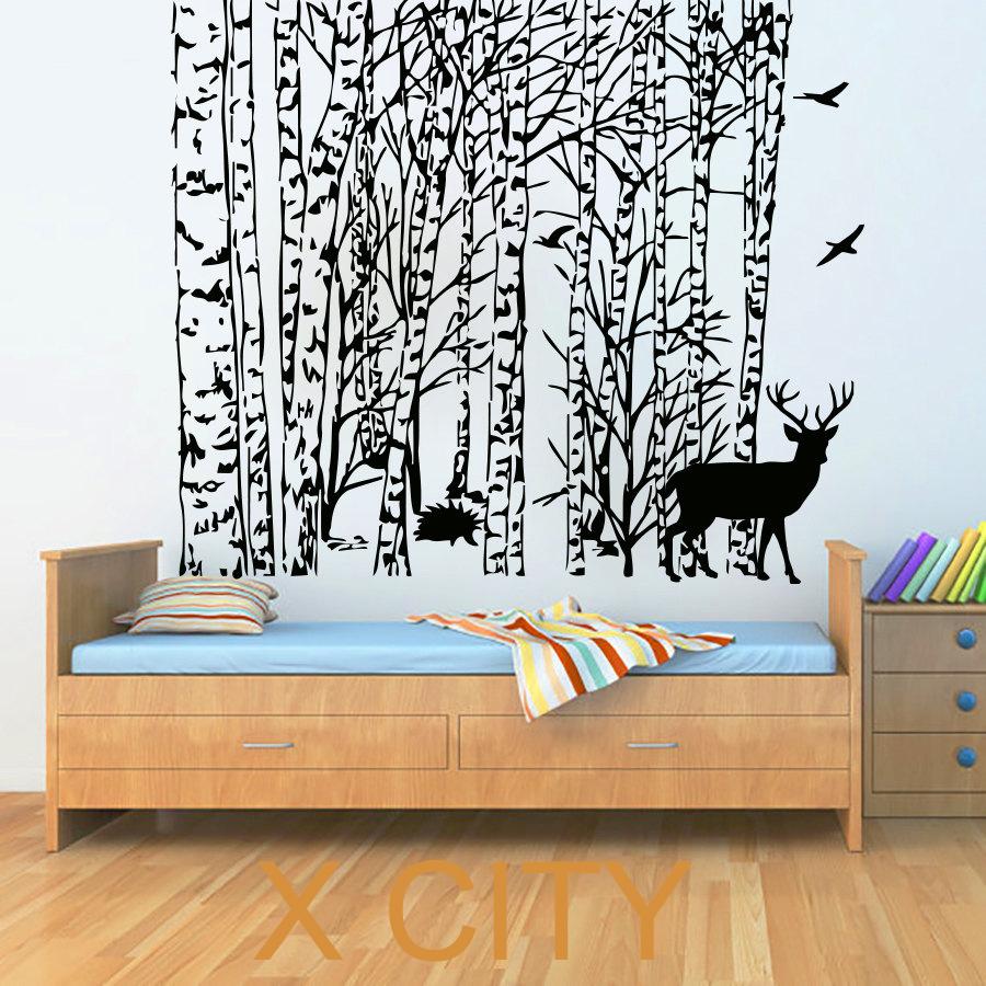 Winter Tree Wall Stickers Bird Deer Decal Vinyl Bathroom Kitchen Window Baby Nursery Bedroom Home Decor Art Murals(China (Mainland))