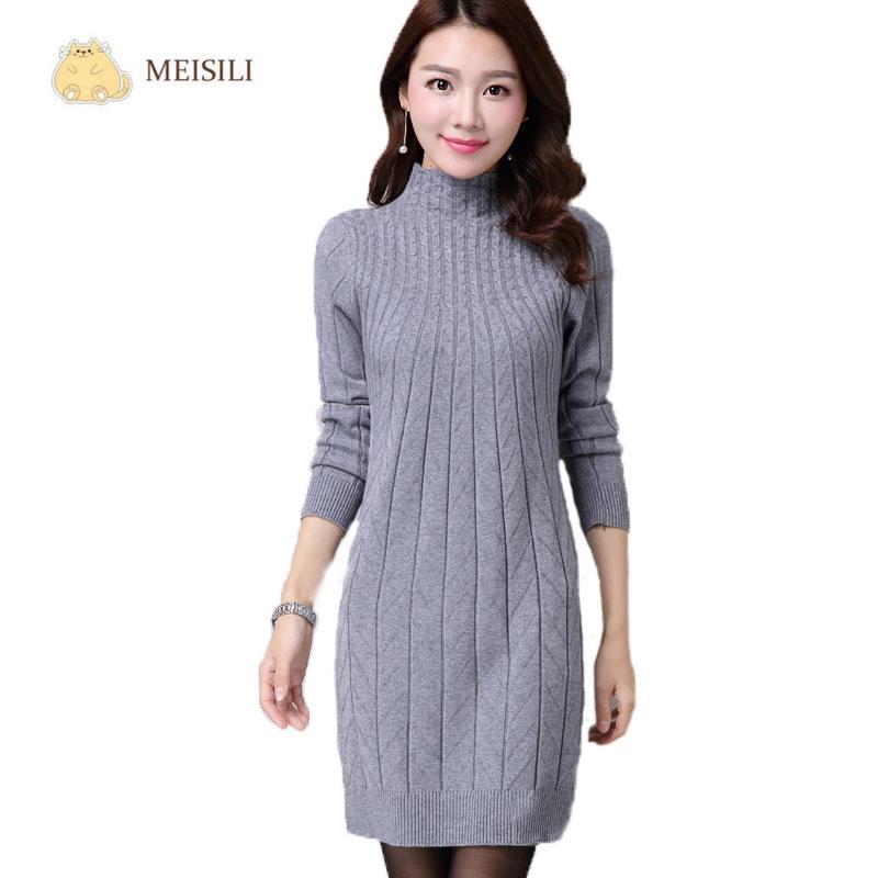 Popular Women Dress Long Sleeve Wool-Buy Cheap Women Dress Long ...