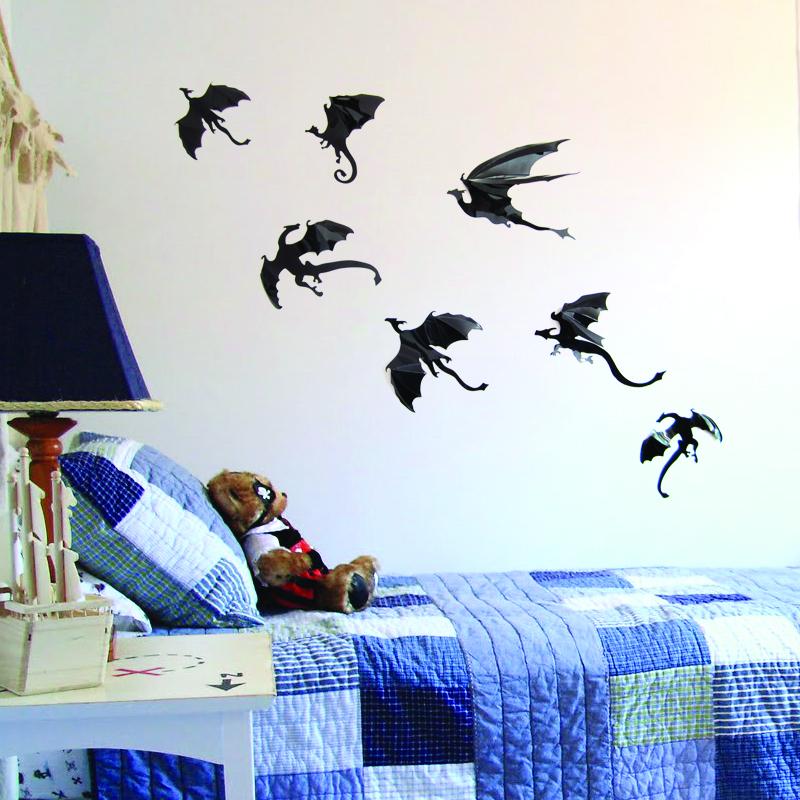 7pcs BLACK DINOS,PVC dinosaur 3D stereo dinosaur decorative wall stickers, wall Art Design Decal Home Decor Room Decorations(China (Mainland))