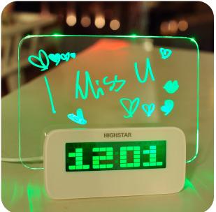 New 2015 LED Luminous Digital Alarm Clock Calendar Fluorescent Message Board Female Birthday Valentine Day Novelty Free Shipping(China (Mainland))