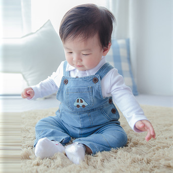 Loongbob 2016 New Children Baby Overalls Spring Autumn Pants Boys Girls Denim Jeans Pants Bebe Pants Trousers Sling Pant