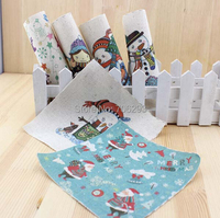 Hand dyed 6 Assorted  Cotton Linen Printed Quilt Fabric For DIY Sewing Patchwork Home Textile Decor 15X15cm  Christmas snowman