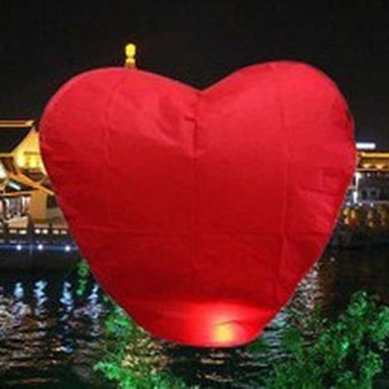 10-Pack: Red Heart Sky Lanterns Chinese Paper Sky Candle Fire Balloons for Wedding Party decoration(China (Mainland))