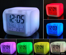 7 LED Colors Changing Digital Alarm Clock Desk Gadget Digital Alarm Thermometer Night Glowing Cube LCD Clock(China (Mainland))