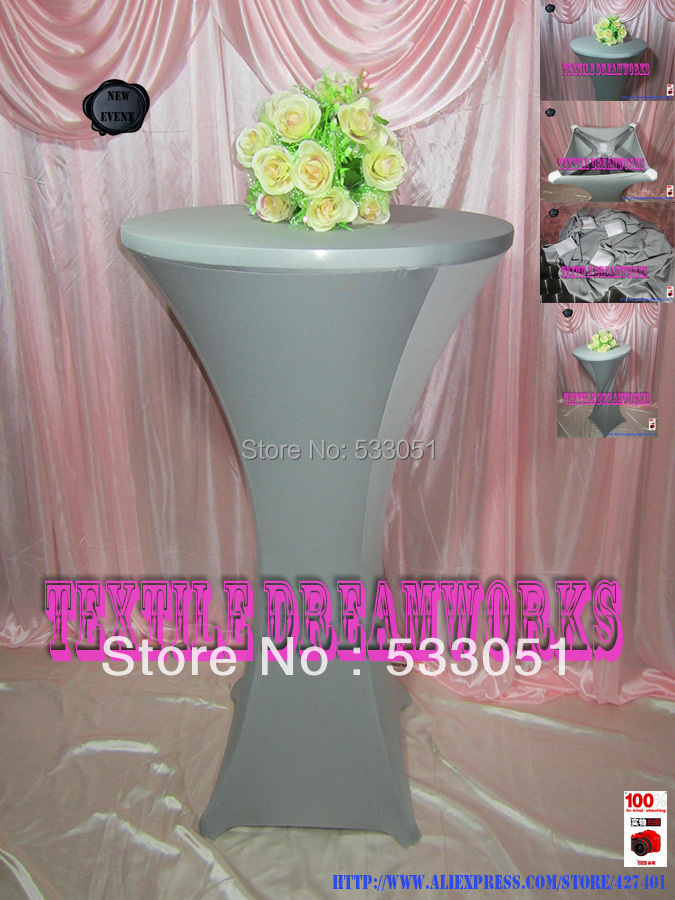 """36"""" (R) x 42"""" (H) Light Silver Color Lycra/Spandex Cocktail Table Cover/Lycra Table Cover For Wedding Event & Party Decoration(China (Mainland))"""