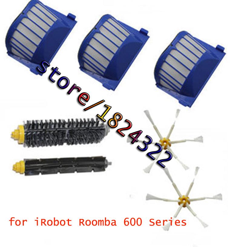 3 AeroVac Filter + Hair Brush kit + 2 side brush for iRobot Roomba 600 Series 528 529 620 630 650 660 Vacuum Cleaner Accessories(China (Mainland))