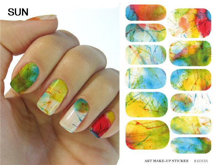 Fashion Sun Nail Design Water Transfer Nails Art Sticker Harajuku Glitter Nail Wraps Sticker Watermark Fingernails Decals(China (Mainland))
