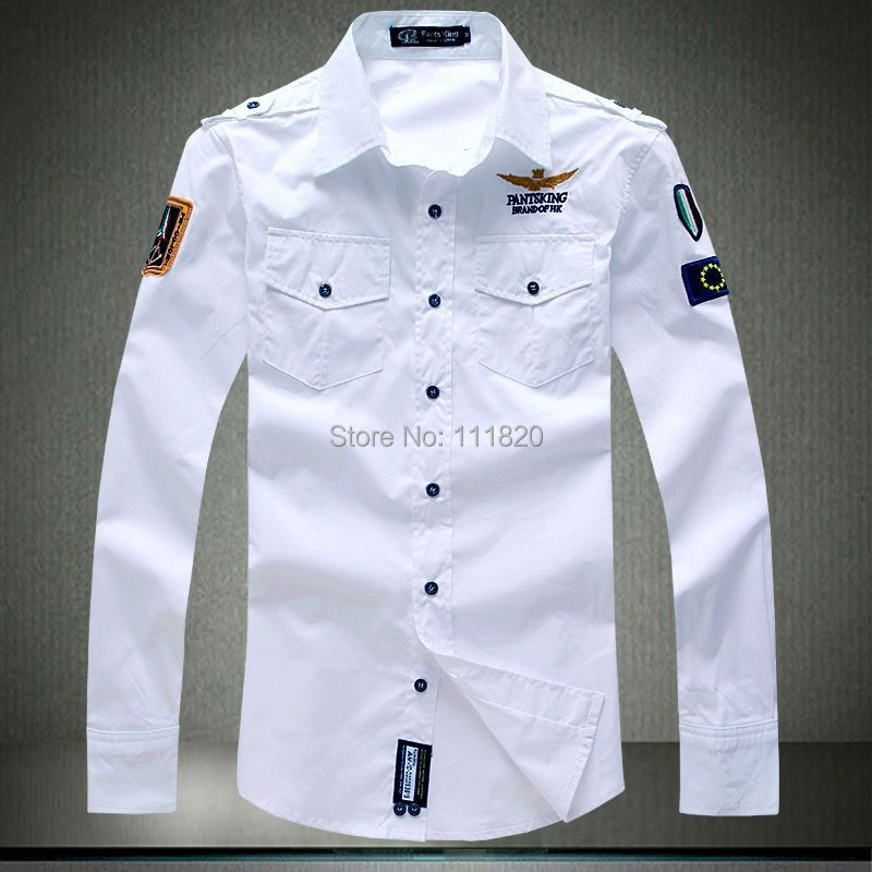 M-4XL New Men Dress Shirts Airforce Military Uniform Long Sleeve Brand Male Embroidery Army shirt A99 - Lady-Killer store