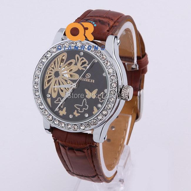 Skeleton Butterfly super Luxury top Brand Mechanical leather Case women dress rhinestone watch MW048#<br><br>Aliexpress