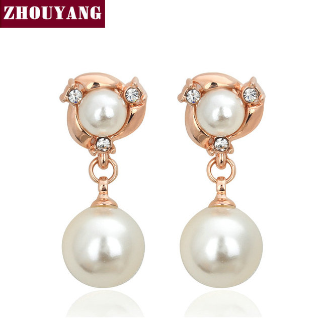 ZHOUYANG Top Quality Two Imitation Pearl White & Rose Gold Plated Stud Earrings Genuine  Austrian Crystal Wholesale E081 E082