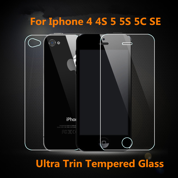 2PC = 1Front+1Back 0.26mm Tempered Glass For Apple iPhone 4 4S Screen Protector Film Glass On the For iPhone 5S SE 5C Protection(China (Mainland))