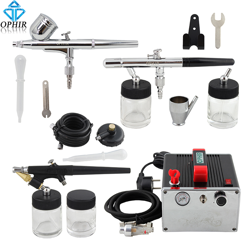 2014 OPHIR 0.3mm 0.35mm 0.8mm 3-Airbrush Kit Dual Single Action with Air Compressor for Hobby Cake Decoration#AC091+004A+071+072