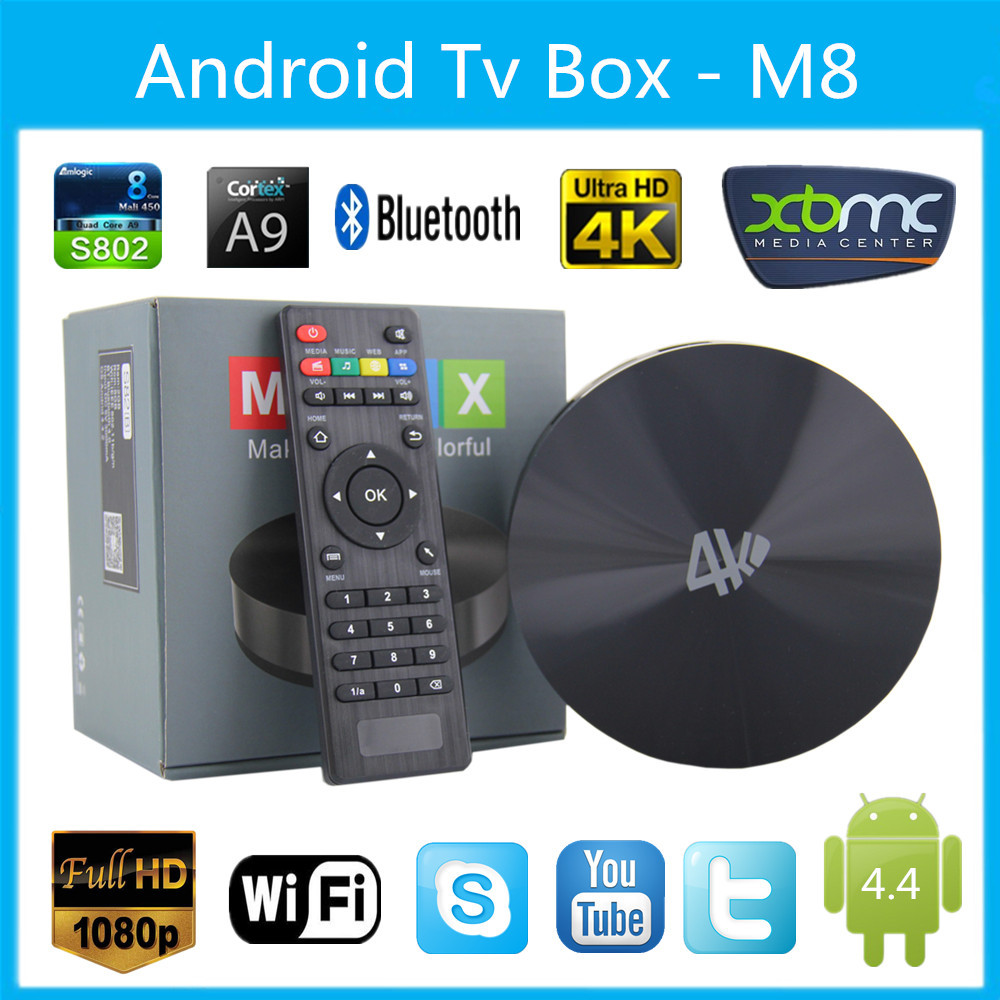 S82 M8 Smart TV Box Android 4.4 Amlogic S802 2.0GHz Quad Core Mali450 GPU Support 4K 2G/8G XBMC Miracast DLNA Bluetooth 4.0(China (Mainland))