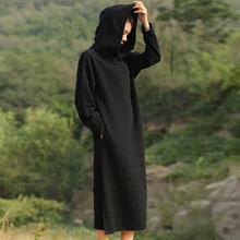 Solid Black Red Long sleeve Hooded Mid Long Dress Women Autumn Cotton Linen Vintage Dress Novelty Hooded Vestidos Robe 5071(China (Mainland))