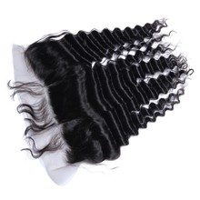 Cheap Deep Wave Lace Frontal Closure 13×4 Ear to Ear Peruvian Virgin Hair Curly Frontal with Babay Hair Beat Hair Products