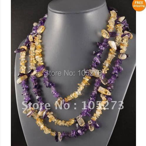 Stunning Crystal Beads Jewelry AA 7-15MM 3-Strand Amethyst &amp; Citrine Chip Necklace 18-22inch Fashion Jewelry New Free Shipping<br><br>Aliexpress