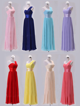 Cheap Bridesmaid Floor Length Dress One Shoulder Tube Top Chiffon Long Formal Wedding Party Dresses Drop Shipping  PD0014