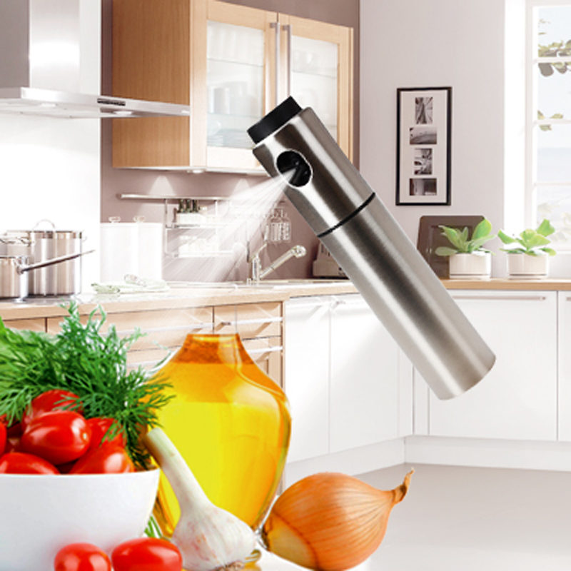 Silver Stainless Steel Olive Pump Spraying Oil Bottle Sprayer Can Oil Jar Pot Tool Can Pot Cookware Kitchen Tools(China (Mainland))