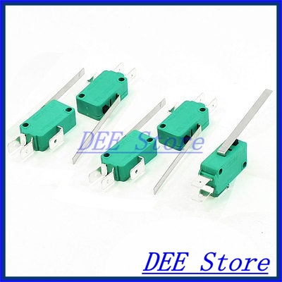 safety micro touch switch limit switches 5pcs 250VAC 16A SPDT 3-Pin Long Straight Hinge Lever Miniature Microswitch Green(China (Mainland))