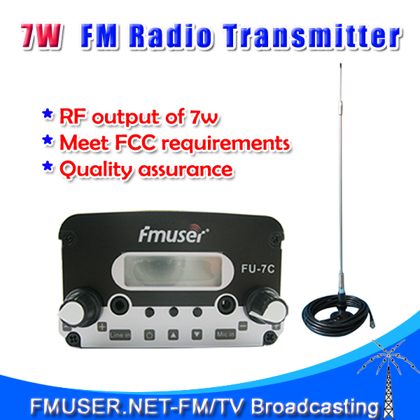 FMUSER FU-7C 7W FM stereo PLL radio fm transmitter+CA200 Car Sucker Antenna Cable Kit(China (Mainland))