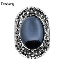 Fashion Jewelry Vintage Look Antique Silver Plated Personality Victoria Flower Oval Black Turquoise Rings TR410(China (Mainland))