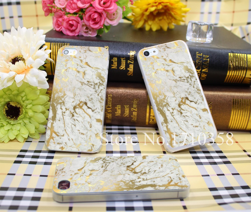 803851N gold marble Style Hard Transparent Phone Cases Cover for iPhone 7 7 Plus 5 5s 4 4s 6 plus 5c Clear