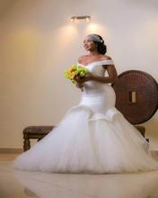 Newest 2017 Plus Size Wedding Dresses Sexy Off-the-Shoulder Tulle Mermaid Wedding Gowns V Neck vestido de novia(China (Mainland))