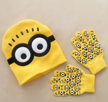 Free Shipping Retail 1 set Minions Free shipping baby boys  Children Dave cartoon winter knitted hat and gloves Beanies(China (Mainland))