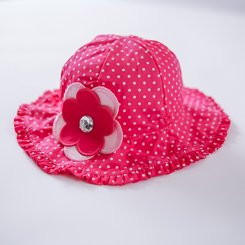 100% Cotton girls Flower cap Pink hat outdoor spring and summer children's Garments Solid color baby girl hats children hat(China (Mainland))