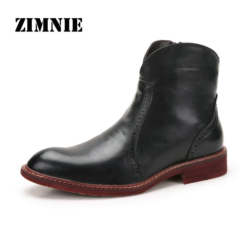 New Fashion Men Leather Shoes Waterproof Men Boots Comfortable Short Plush Black Winter Boots Quality Ankle Boots Men(China (Mainland))