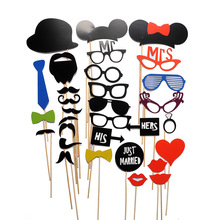 31PCS New DIY Face Funny Masks Photo Booth Gatsby Props Photography Mustache Birthday Christmas Party