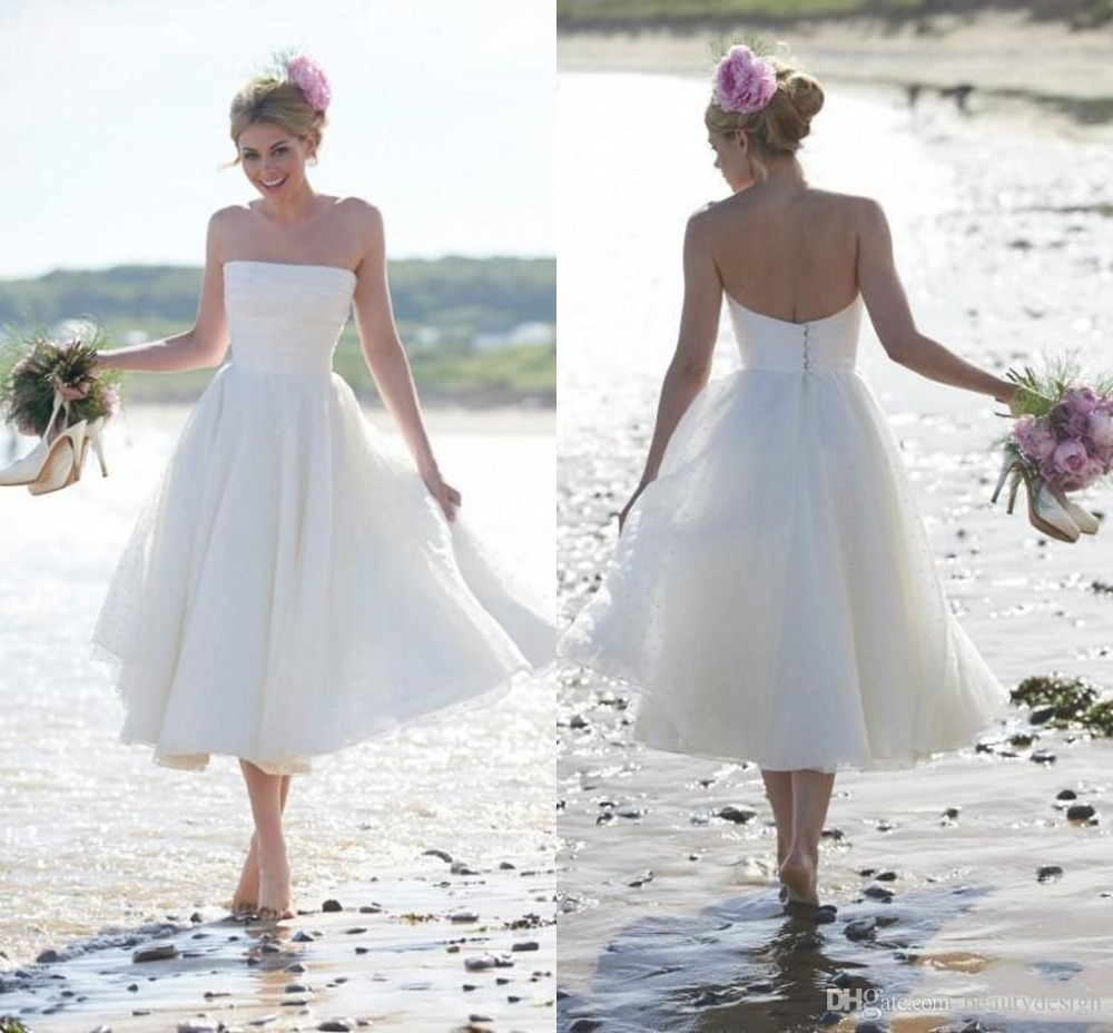 2015 newest fashion summer beach short a line wedding for Strapless summer wedding dresses