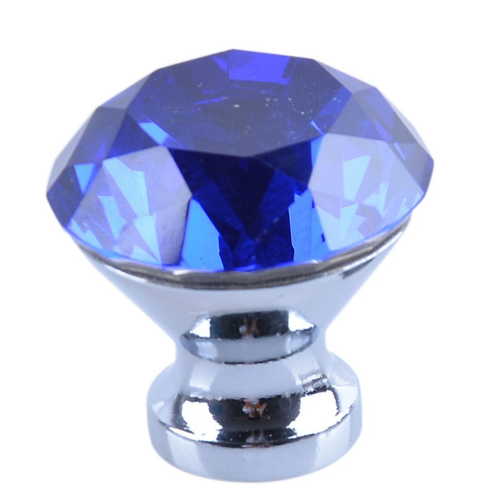 blue cabinet pull Clear Dimoand Diameter 30mm Crystal Shape Cabinet Knob Drawer Handle(China (Mainland))