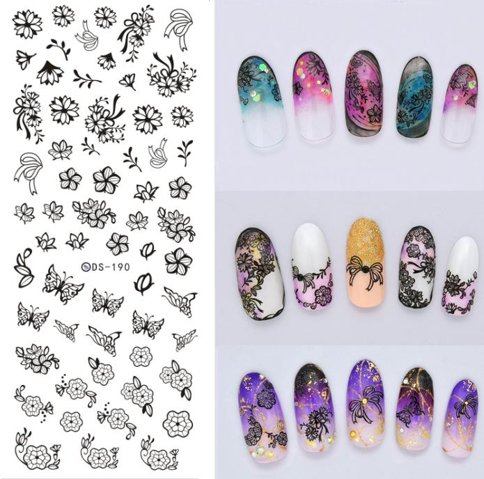 DS190 DIY Nail Design Water Transfer Nails Art Sticker Black Harajuku Flowers Nail Wraps Sticker Watermark Fingernails Decals(China (Mainland))