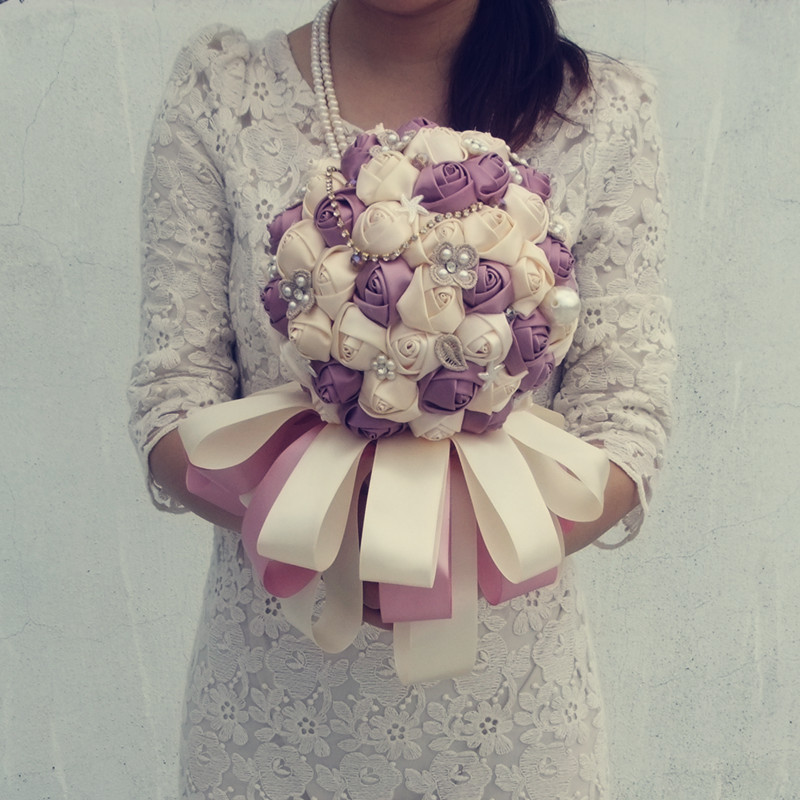 Diy high grade wedding hand bouquet Pearl Red and white Photo tool Silks/satins flowers Size 15cm Opp bag Free shipping