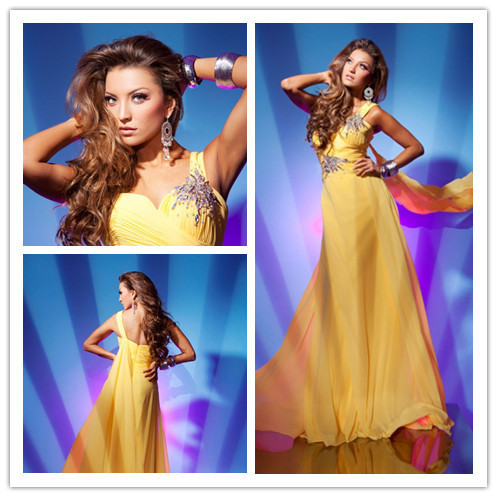 A-line One-shoulder Sweetheart Floor Length Yellow Chiffon Beaded Long Formal Evening Dresses/Evening Gown 2014